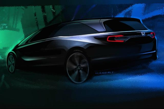 a rendering of the 2018 Honda Odyssey. The new generation of the minivan will debut January 9 in Detroit.