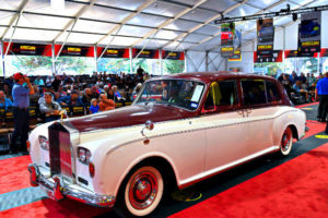 A Rolls-Royce on the auction block at the 2017 Mecum Auction during the 2017 Classic Car Week on the Monterey Peninsula.
