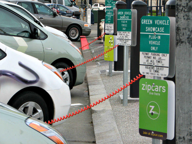 Three converted Prius Plug-In Hybrids charging at San Francisco City Hall.