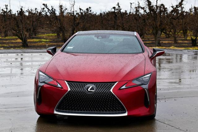 "The 2018 Lexus LC 500 has a traditional ""pouting"" front grille."