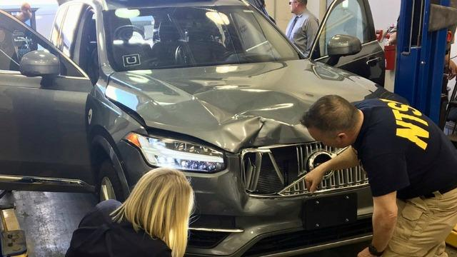The Volvo SUV used as an autonomous Uber vehicle in Tempe, Arizona, that killed a woman pushing a bicycle late at night and outside of a crosswalk.