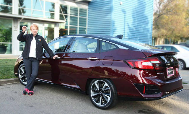 Chris White of the California Fuel Cell Partnership in West Sacramento drives a Honda Clarity Fuel Cell. It runs on hydrogen.