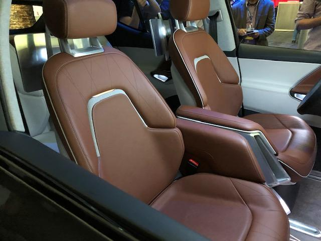 The Byton concept has a plush interior with rear seats that swivel.