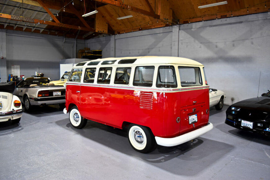 A 1961 (23 window) Volkswagen Van is part of the vintage car fleet available for rent at Monterey Touring Vehicles.