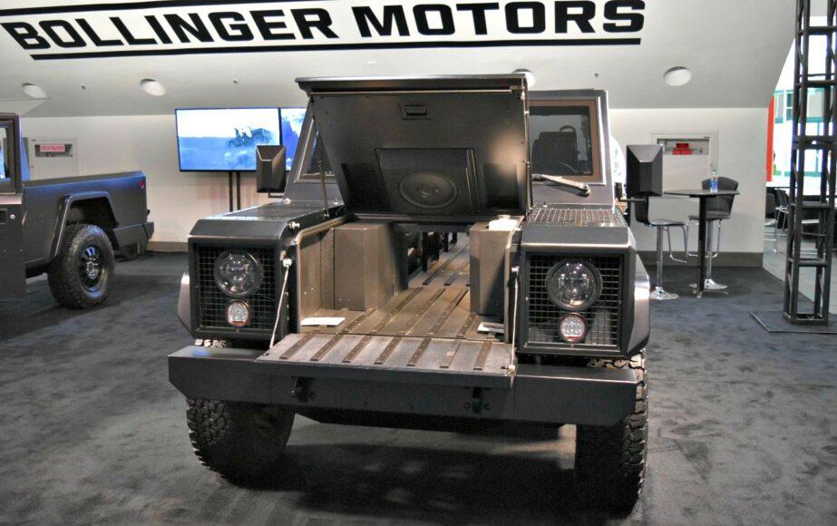 Bollinger Motors is exhibiting is pre-production models of its its utilitarian electric pickups at the LA Auto Show