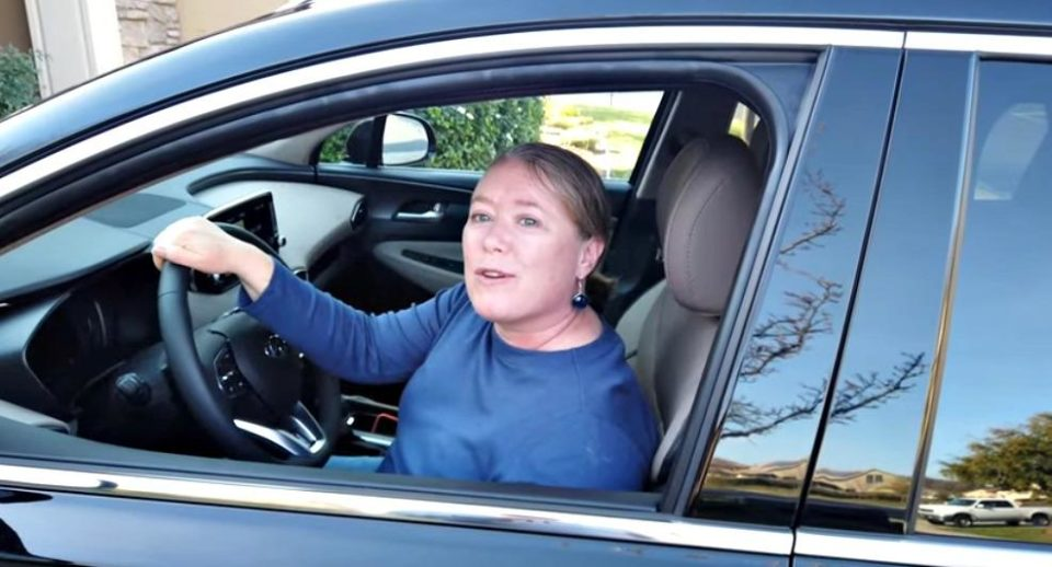 Valerie Antkowiak of appmyhome.com discussing the technology in her new 2020 Hyundai Santa Fe.