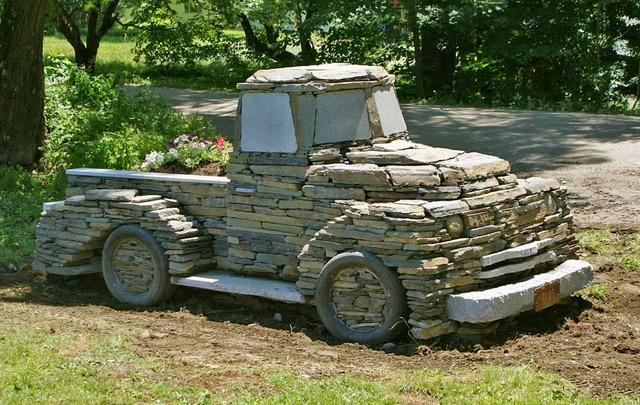 Chris Miller, a sculptor and stonemason in Vermont, created a stone truck in 2012.