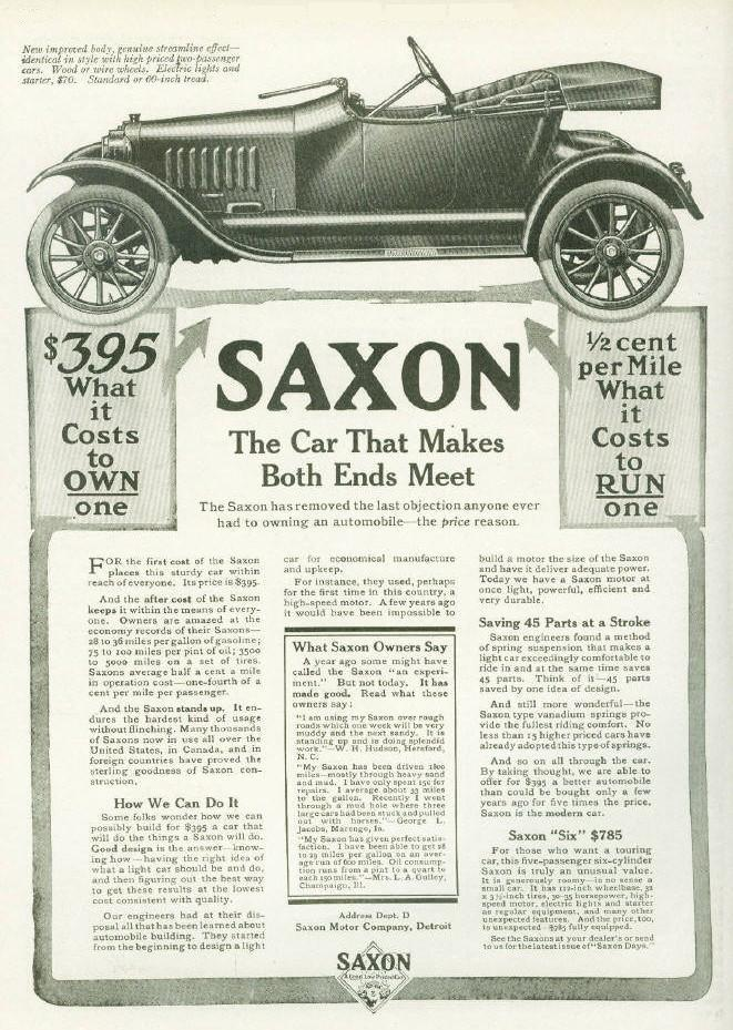 Tom Britzman drove and 1917 Saxon in as a freshman at Lodi High School.