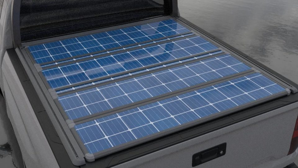 Pickup truck bed covers generate solar power.