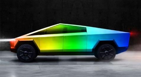 The new Tesla Cypertruck have be available with a rainbow exterior paint theme.