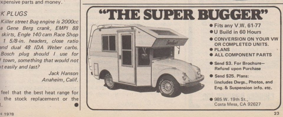 An advertisement for the 1973 Super Bugger conversion.