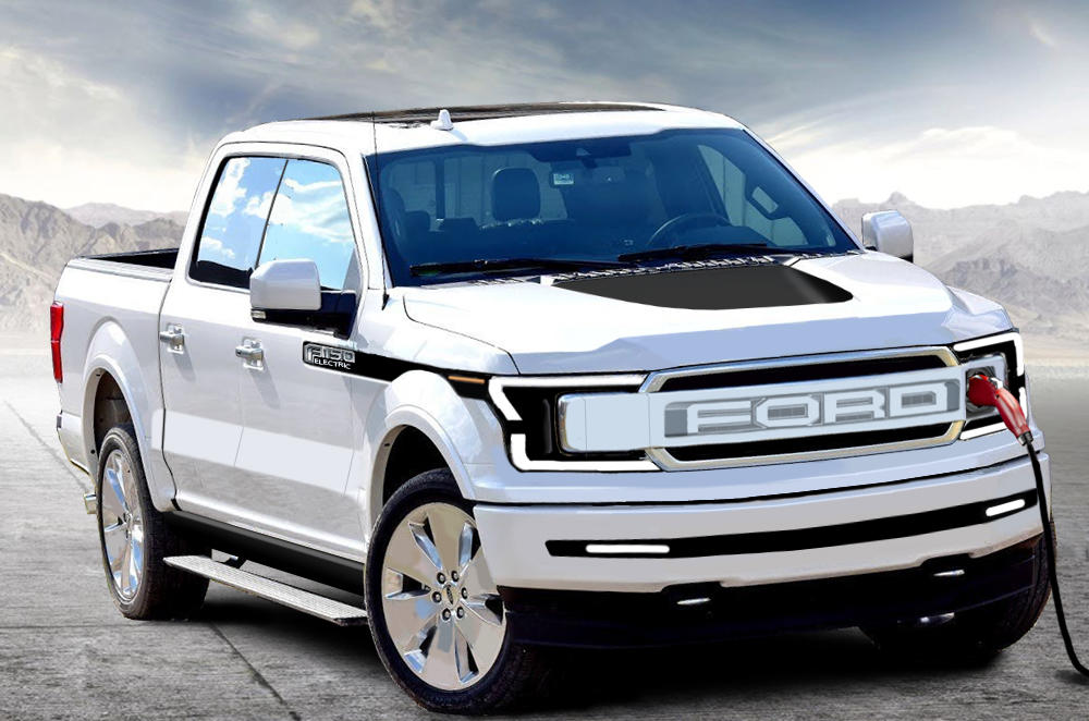 A concept rendering of the 2022 Ford F-150 EV pickup truck