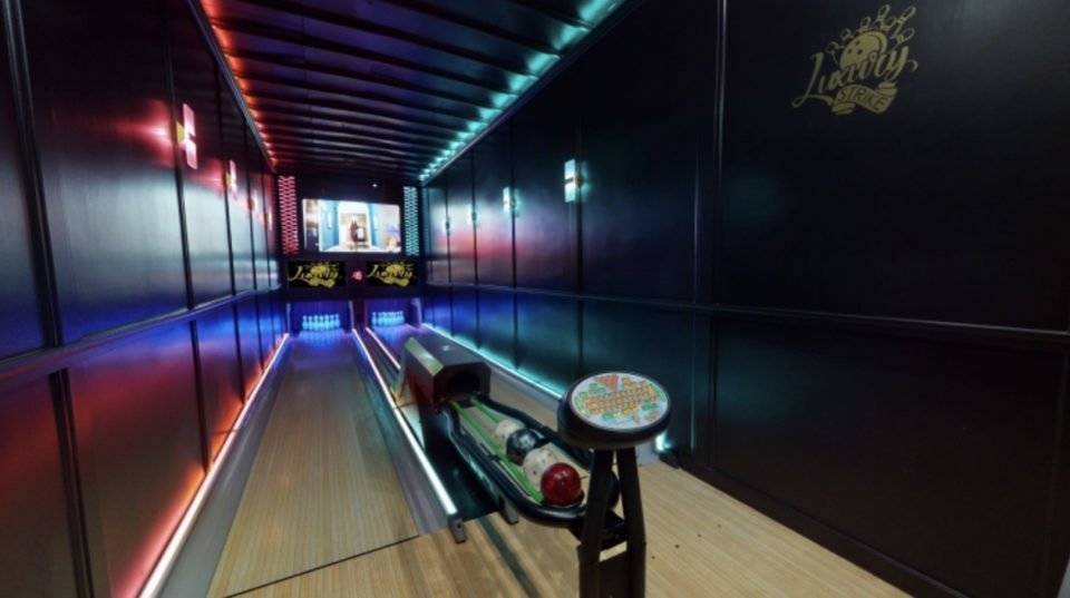 A semi-truck driver in Michigan has converted his rig into a two-lane bowling alley.