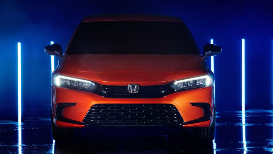 A protyple of the new front exterior design of the 2022 Honda Civic.