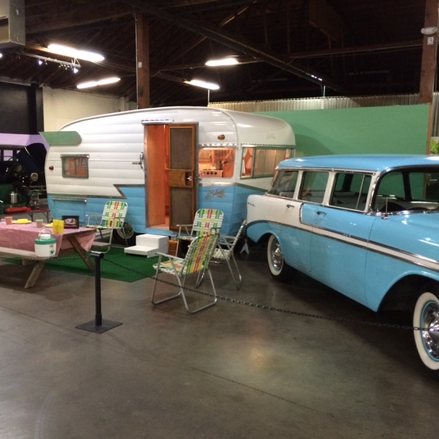 The Casgrande family's 1956 Chevy Bel Air and its accompanying Shast travel trailer.