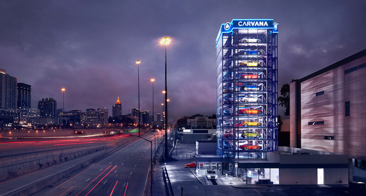 Carvana sells used cars an vending machines in 28 locations around the United States.
