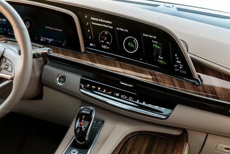 The 2021 Cadillac incudes a luxuriously designed dashboard.