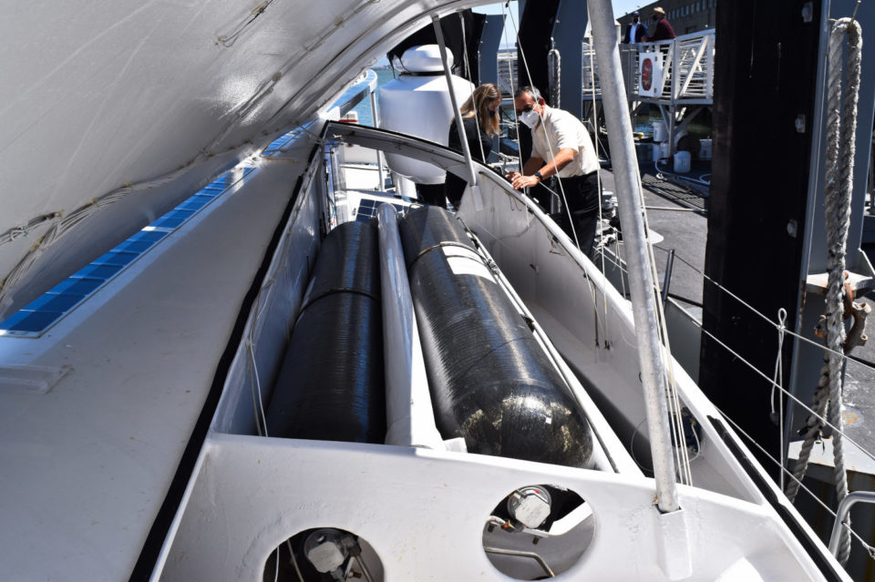 The hydrogen fuel tanks on the Energy Observer.