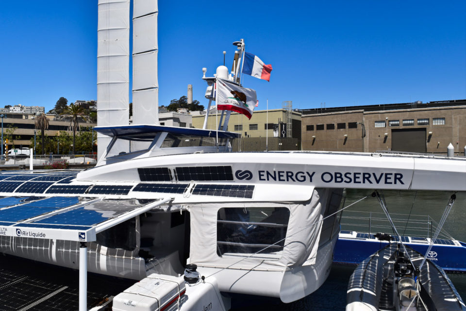 """The Energy Observer is about 100 feet long and has two """"wing sails."""""""