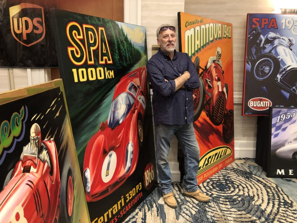 Robert Carter, who creates large-sized automobile-themed paintings, in his studio in Chico, California, will return to Monterey Auto Week.