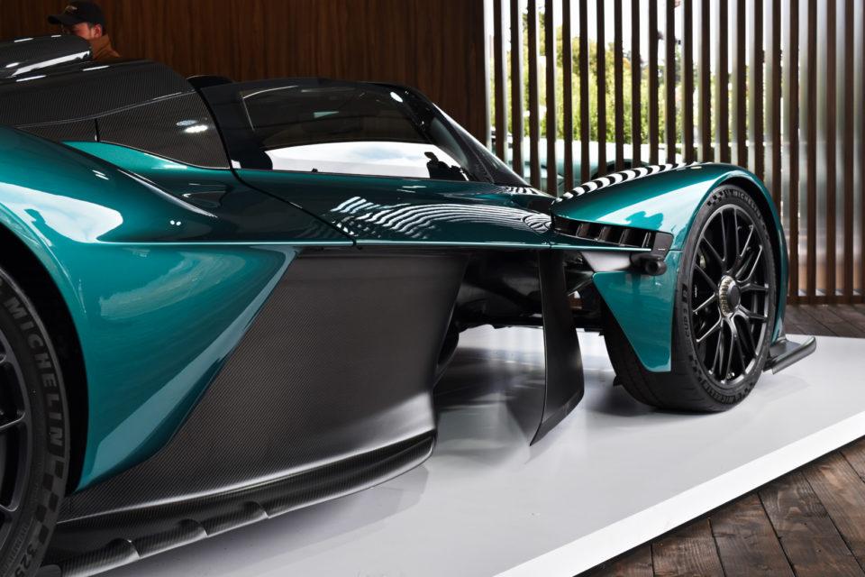 The 2022 Aston Martin Valkyrie has a futuristic exterior design.