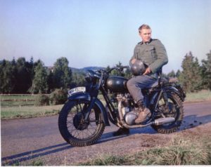 Steve McQueen during the filming of The Great Escape
