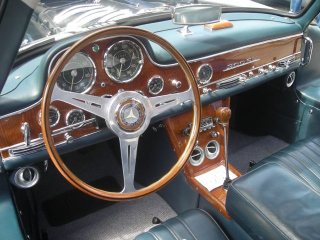 The classic iteriror of a vintage Mercedes-Benz on display during Monterry
