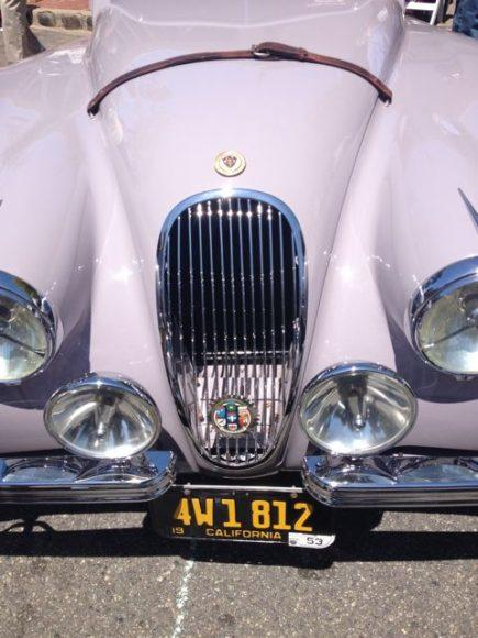 """A rare """"Pink"""" Jaguar at the Concours on the Avenue."""