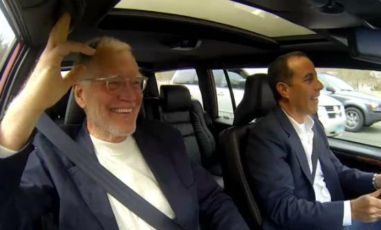 David Letterman, (l) and Jerry Seinfeld in Comedians in Cars Getting Coffee.