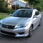 The 2015 Honda Accord Hybrid has an EPA estimated 50 mpg in city driving.