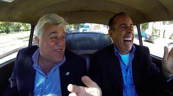 Jay Leno (l) and Jerry Seinfeld from an episode last year of Comedian In Cars Getting Coffee.