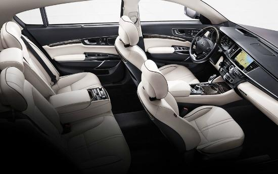 The high-end Kia K900 has a plush interior.