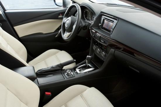 The two-toned interior of the 2015 Mazda6.