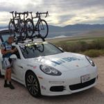The Airgas-Safeway cycling team is using two 2015 Porsche Panamera S Hybrids during the Tour of Utah.