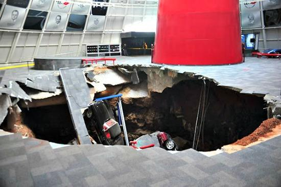 The sinkhole in the National Corvette Museum in Bowling Green, Kentucky.