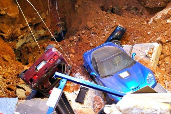 The sinkhole and the blue Corvette first rescued at the National Corvette Museum. Image © John Stoltzfus