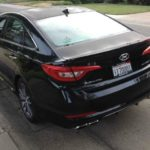 The 20115 Hyundai Sonata has a sloped rear roof panel.