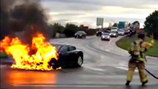 The Tesla Model S burning in Kent, Washington.