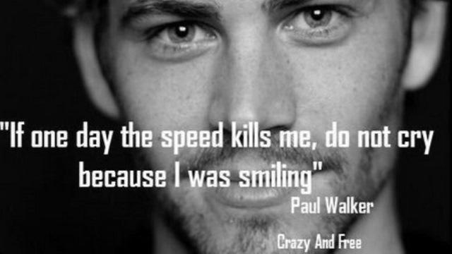 Paul Walker homage. The actor died Nov. 30 in a car crash.