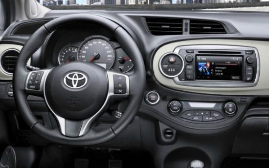 The interior of the 2015 Toyota Yaris has a more modern look.